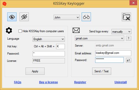 KISSKey Keylogger full screenshot